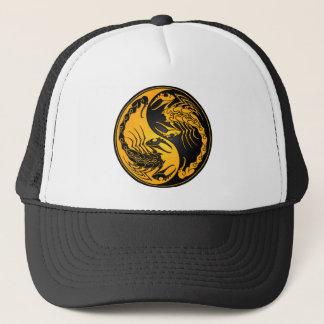 黄色および黒い陰陽の蠍 キャップ