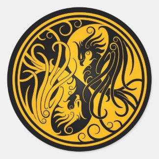 黄色および黒い陰陽フェニックス ラウンドシール