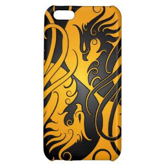 黄色および黒い陰陽フェニックス iPhone5Cカバー