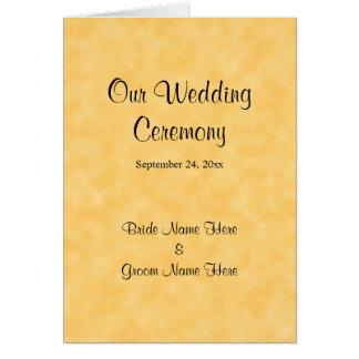 黄色および黒の結婚式プログラム カード