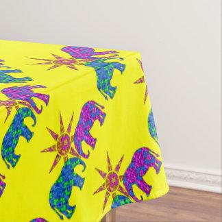 黄色くお洒落な象のテーブルクロス テーブルクロス