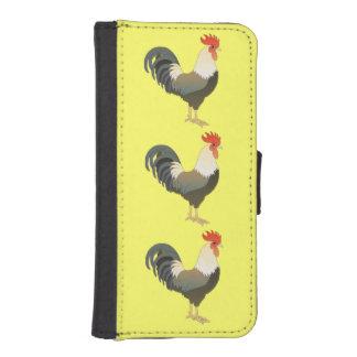 黄色くかカスタムな色の3羽の農場のオンドリ iPhoneSE/5/5sウォレットケース