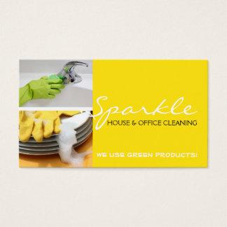 黄色くきれいな家の家のクリーニングの洗剤ビジネス 名刺