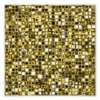 黄色くグランジな織り目加工の格子図形 フォトプリント