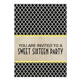 黄色くシックなクローバーの菓子16の招待 カード