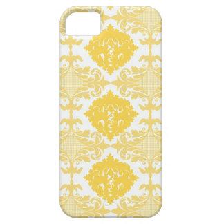 黄色くシックなダマスク織の花のガーリーな花模様 iPhone SE/5/5s ケース