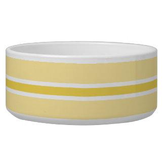 黄色くストライプで大きいペットボウル