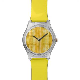 黄色くストライプのな芸術パターン 腕時計