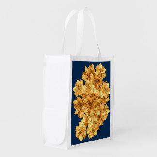 黄色く図解入りの、写真付きのな花花パターンスケッチ エコバッグ