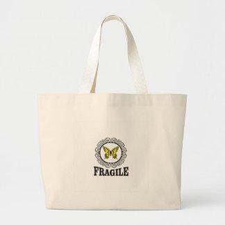 黄色く壊れやすいマーカー ラージトートバッグ