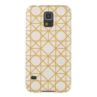 黄色く幾何学的なレトロのヴィンテージパターン GALAXY S5 ケース
