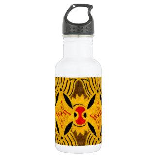 黄色く幾何学的な織物 ウォーターボトル