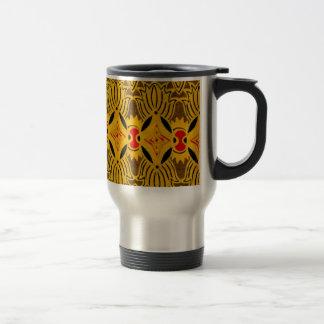 黄色く幾何学的な織物 トラベルマグ