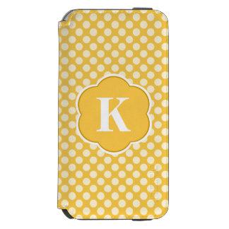 黄色く白いモノグラムの水玉模様パターン INCIPIO WATSON™ iPhone 5 財布型ケース