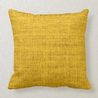 黄色く素朴なバーラップの麻布 クッション