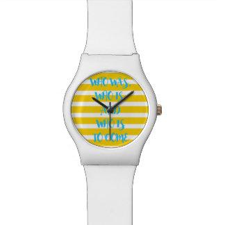黄色く航海のでストライプのな約束の腕時計 ウオッチ