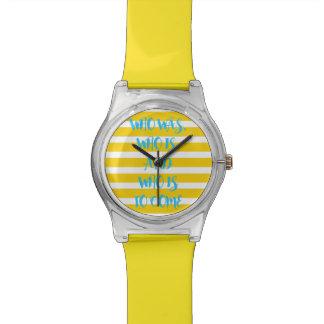 黄色く航海のでストライプのな約束の腕時計 リストウオッチ