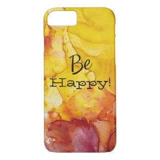 黄色く赤いオレンジ水彩画の電話箱は幸せです iPhone 8/7ケース
