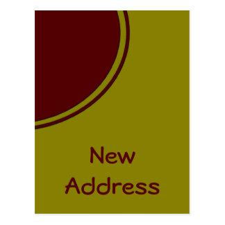 黄色く赤い円の新しい住所 ポストカード