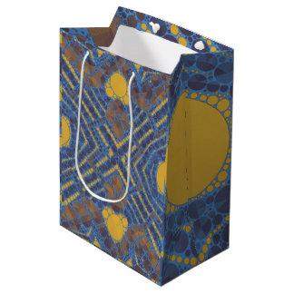 黄色く青くきらきら光るな抽象芸術 ミディアムペーパーバッグ