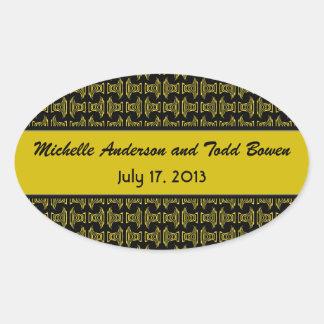 黄色く黒いパターン結婚式 楕円形シール