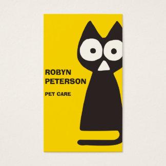 黄色く黒い三角形の記号による猫 名刺