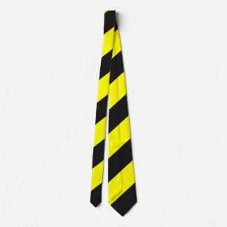 黄色く黒い関心の警告は縞で飾ります カスタムネクタイ