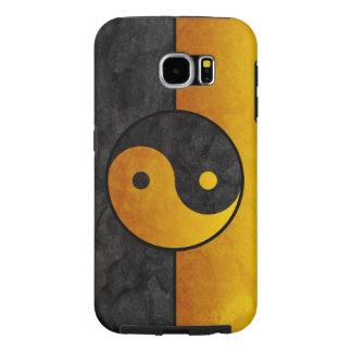 黄色く黒い陰陽の印 SAMSUNG GALAXY S6 ケース