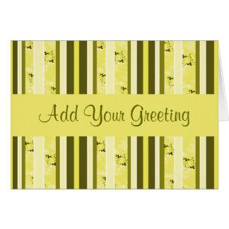 黄色く、オリーブ色のストライプ カード