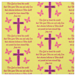 黄色く、ピンクのジョンの3:16の生地 ファブリック