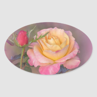 黄色く、ピンクのバラ 楕円形シール