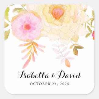 黄色く、ピンクの水彩画によっては結婚式のステッカーが開花します スクエアシール