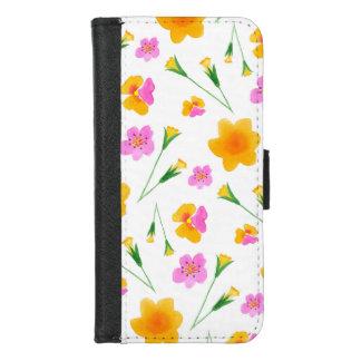 黄色く、ピンクの水彩画の花 iPhone 8/7 ウォレットケース