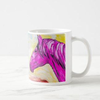 黄色く、ピンクの馬 コーヒーマグカップ