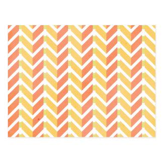 黄色く、珊瑚のシェブロン3Dパターン ポストカード