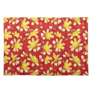 黄色と赤と白ダリアの花束- ランチョンマット