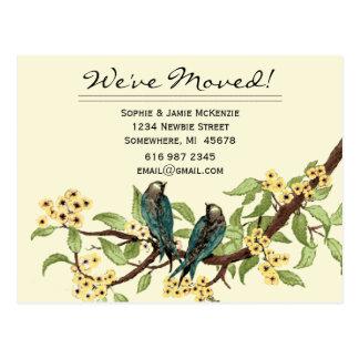 黄色によっては私達が動かしたティール(緑がかった色)のヴィンテージの鳥が開花します! ポストカード