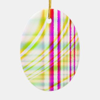 黄色によって曲げられる抽象芸術のピンクの垂直線 セラミックオーナメント