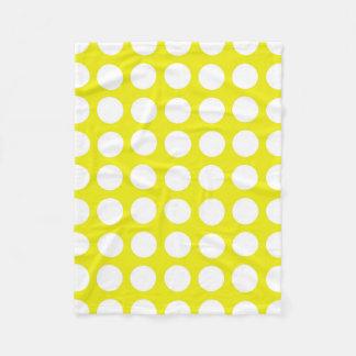 黄色のお祝いの白い水玉模様 フリースブランケット