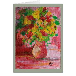 黄色のつぼの絵画によっては挨拶状が開花します カード
