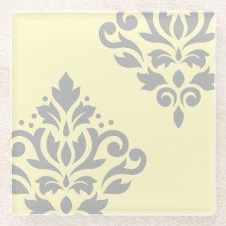 黄色のスクロールダマスク織の芸術Iの灰色 ガラスコースター
