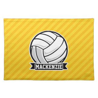 黄色のストライプのバレーボール ランチョンマット