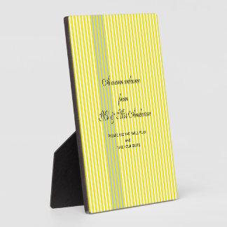 黄色のストライプの結婚 フォトプラーク