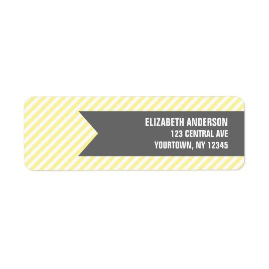 黄色のストライプパターン宛名ラベル 返信用宛名ラベル