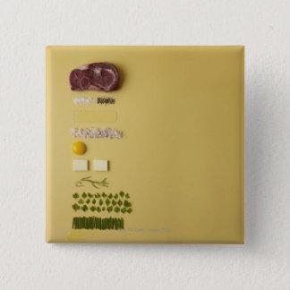 黄色のタルタルステーキのための原料 5.1CM 正方形バッジ