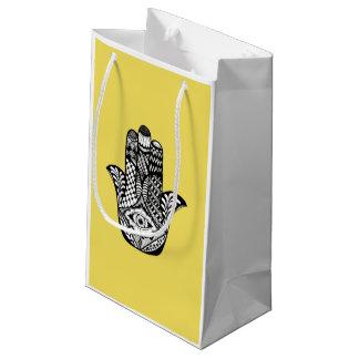 黄色のファティマのHamsa手描きの手 スモールペーパーバッグ