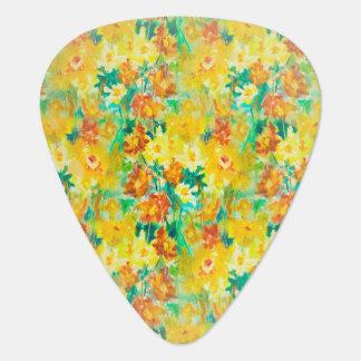 黄色のヴィンテージの春の花柄 ギターピック