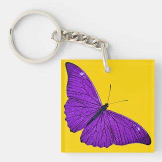 黄色のヴィンテージの19世紀の暗い紫色の蝶 正方形(片面)アクリル製キーホルダー