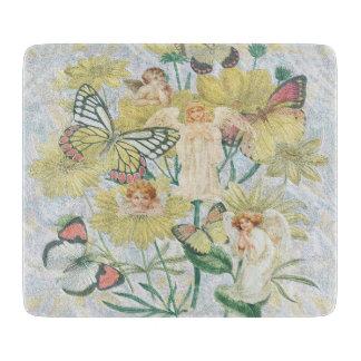 黄色の天使、蝶および花 カッティングボード