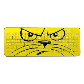 黄色の怒っている猫の顔 ワイヤレスキーボード